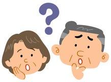 Senior couple feeling doubts Worried worry Anxious. The image of a Senior couple feeling doubts Worried worry Anxious vector illustration