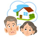 Senior couple troubled at home royalty free illustration