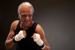 Image of a senior fighter ready to fight Stock Photo