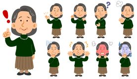 Senior women in green sweaters 9 sets of poses vector illustration