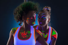 Image of sensual dancers with fluorescent makeup Royalty Free Stock Photo