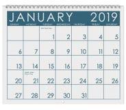 2019: Calendar: Month Of January stock illustration
