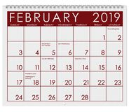 2019: Calendar: Month Of February royalty free illustration