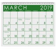 2019: Calendar: Month Of March stock illustration