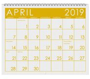 2019: Calendar: Month Of April vector illustration
