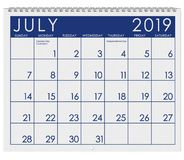 2019: Calendar: Month Of July royalty free illustration