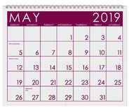 2019: Calendar: Month Of May vector illustration