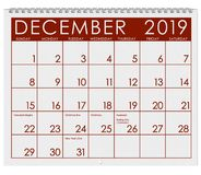 2019: Calendar: Month Of December vector illustration