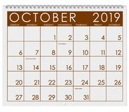2019: Calendar: Month Of October vector illustration