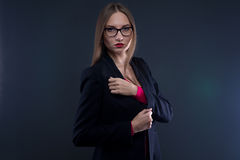 Image of serious woman in black jacket royalty free stock images