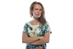 Image of serious woman with light brown hair. On white background royalty free stock photography