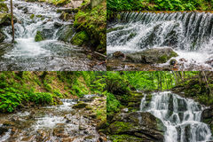 Image set of cascades on the forest river. Summer landscape set of images. Small cascades on the forest river with stones and boulders Royalty Free Stock Photo