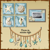 Image set of the interior ocean decor Royalty Free Stock Photo