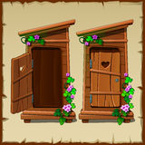 Image set of the rural toilet. Two objects with open and closed door Royalty Free Stock Photography
