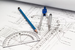 Image of several drawings for the project engineer jobs Royalty Free Stock Photos