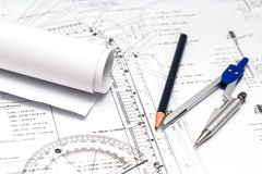 Image of several drawings for the project engineer jobs Stock Photography