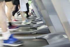 Image of several treadmills stock images