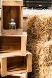 Image of several yellow haystacks summer. / Haystack Royalty Free Stock Photo