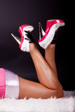 Image of sexy legs. Sexy legs in pink shoes Royalty Free Stock Image
