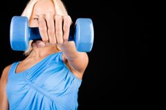 Image of sexy woman with dumbbells Royalty Free Stock Images