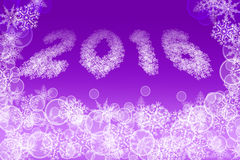 2016 image shaped from little snowflakes on bright. Picture of white snowflakes and bubbles on bright purple background. 2016 image shaped from little snowflakes Stock Photo