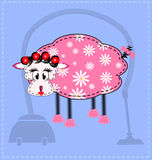 Image of a sheep. Blue background and an abstract sheep housewife Stock Image