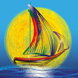 Image of ship with sails on the blue waves and sun Royalty Free Stock Photography