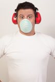 Image of a shocked handy man. Handy man with a shocked facial expression Stock Photography
