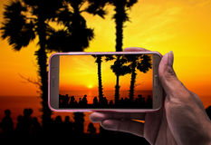 Image of shooting photographs with smartphone Stock Photography