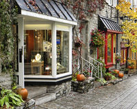 Quebec City Shops. Image of a shopping street in old Quebec City on a rainy day in autumn Royalty Free Stock Images