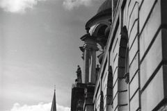 Architecture In Oxford. Image showcasing the historic architecture in Oxford, England. Black and white film used Royalty Free Stock Photography
