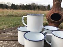 Enamelware Camping Cups Mugs Mock-up royalty free stock photo