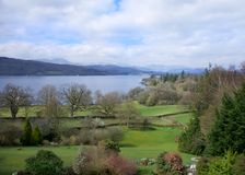 Windermere Light Skies. Image showing Lake Windermere the UK`s largest lake Royalty Free Stock Photo