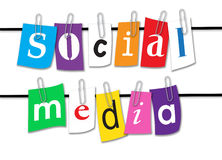 Social Media Line. An image showing the letters which spell Social Media on a washing or rope line. They are individual letters on pieces of colored card held on Stock Image