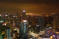 Image showing some buildings and lights of the city of Bangkok at night royalty free stock photography