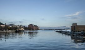 Copenhagen - blue skies and seas. This image shows a canal, Copenhagen. It was taken on a sunny day in November 2017. Beautiful blue skies and seas royalty free stock photos