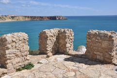 Viewpoint of Fortaleza de Sagres, Portugal, Europe. Image shows the details of the wall of Fortaleza de Sagres located in Portugal, Europe Stock Photography