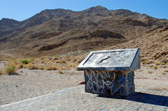 Vandalized educational marker for Frenchman Mountain, site of the Great Unconformaty near Las Vegas, Nevada. The image shows an educational marker that has been Stock Photos