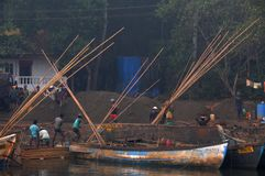 Fishermen in morning in a village of Goa stock images
