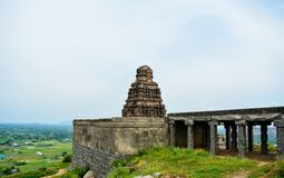 A Hindu temple on Gingee/ Senji Fort in Tamil Nadu, India stock image