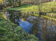 Park, Oslo, trees and reflections. This image shows a park in Oslo on a sunny day - some meadows, trees and a canal Stock Photo