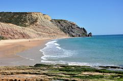 Beach of Luz, Algarve, Portugal, Europe. Image shows popular beach of Luz, Praia de Luz, Algarve, Portugal, Europe Stock Images