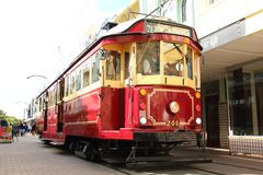 Red Christchurch tramways tram, New Zealand royalty free stock photo