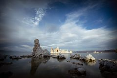 An island of salt rock in Mono Lake. This image shows the rock formations in the famous Mono Lake in Lee Vining California stock image