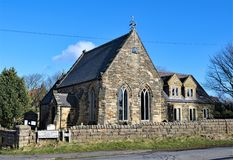 St Hilda`s Church, in Ravenscar. This image shows St Hilda`s Church taken during a sunny winter`s day on Church Road, leading to Bentrigg Lane, in Ravenscar stock image