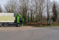 Well-Known, British supermarket chain showing one of its delivery trucks at the back of a supermarket carpark. The image shows the trailer parked, so that goods Stock Photography