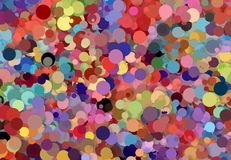Abstract art texture. Colorful round discs. Colorful texture. Modern artwork. Digital render. Image shows various colorful discs in different sizes. Image have Stock Image