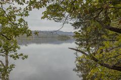 Lake District, England, the UK - bleak, gloomy autumnal day. This image shows a view of a lake in Cumbria, Lake District. It was taken on a gloomy, cloudy day royalty free stock images
