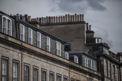 Edinburgh, Scotland, the UK - buildings and skies. This image shows a view of one of the streets in the centre of Edinburgh, Scotland, the UK. It was taken on a royalty free stock images