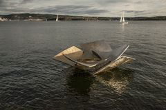 Oslo - fjord and a sculpture. Royalty Free Stock Image